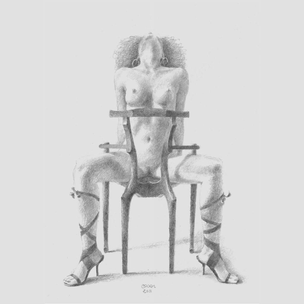 Dama Molliniana, dibujo a lápiz de Óscar Tusquets, con una modelo posando sobre su silla más icónica: la Gaulino